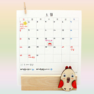 [GD491] [아트공구] [2017년 달력] 꼬끼오달력만들기(탁상용) /정유년달력/달력꾸미기/새해달력/