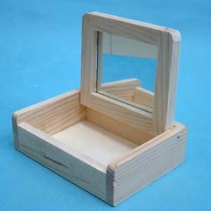 [CL2475] [아트공구] 원목 미니거울보석함 11.8*9.3*3.8cm /원목보석함/미니보석함/보석함만들기/